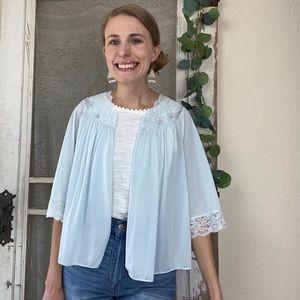 Vintage Shadow Line Blue Nylon Lace Bed Jacket M